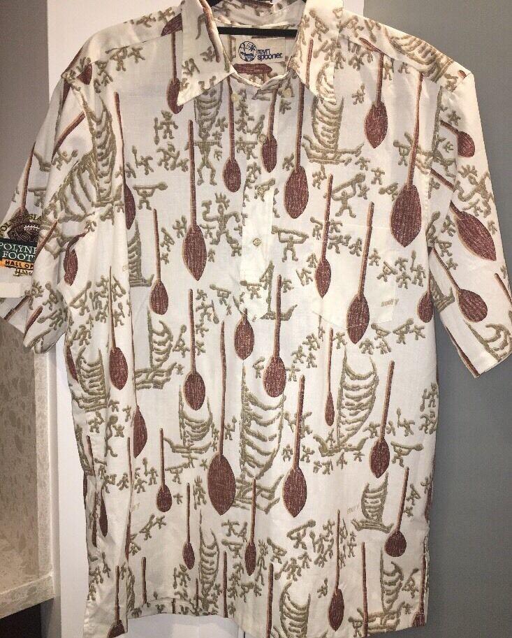 5ec8d01dc Reyn Spooner Eddy Y Polynesian Bowl Hawaiian Petroglyphs Aloha Shirt L. '