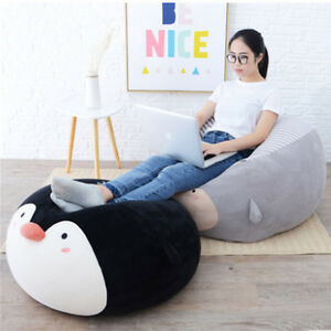 Details About Particle Stuffed Soft Kids Chair Cushion Big Round Animals Penguin Pig Bear Owl