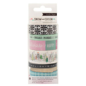 American-Crafts-Crate-Paper-Snow-amp-Cocoa-Washi-Tape-Glitter-Accents-Pack-of-8