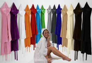 UNI-SEX-Bath-Robe-Combed-Cotton-Terry-Towelling-Hooded-Bathrobe-All-size