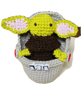 BABY-YODA-Chibi-amp-Pod-4-5-034-Amigurumi-Crochet-Mandalorian-Inspired-The-Child-NEW