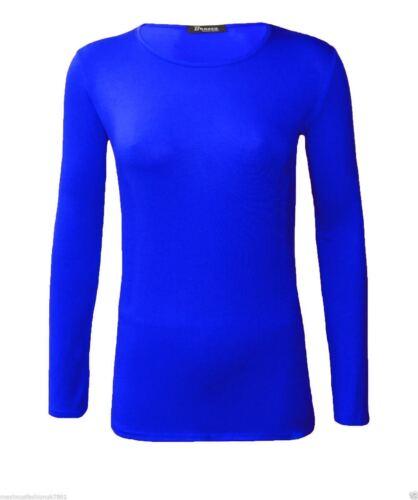 Womens Long Sleeve Ladies Stretch Plain Round Scoop Neck T Shirt Top Plus 8-26