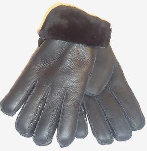 *BOXING WEEK*  2 Women/'s Handmade Genuine Black Sheepskin Leather Fur Gloves  S