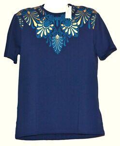 Versace-Collection-Blue-Gold-Logo-Design-Men-039-s-Cotton-Shirt-T-Shirt-Size-XL-NEW