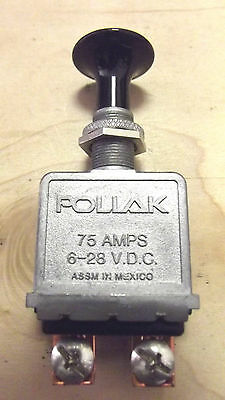 1 POLLAK ON-OFF HEAVY DUTY BLACK BUTTON 75 AMPS LIGHT SWITCH.2.4.