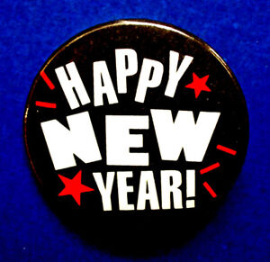 Hallmark-BUTTON-PIN-New-Years-Vintage-HAPPY-STARS-B-amp-W-RED-Holiday-Pinback