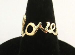 SIZE-7-14KT-GOLD-EP-SCRIPT-LOVE-WORD-RING