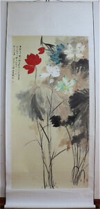 LARGE-Chinese-Hand-Painting-amp-Scroll-Lotus-By-Zhang-Daqian-PV139