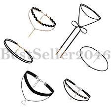 6pc Set Gothic Black Lace Retro Choker Collar Bib Necklace Charm Pendant Jewelry