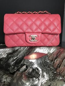 cc9beecc8ef Chargement de l'image NWT-CHANEL-2018-18S-PEARLY-PINK-CAVIAR-RECTANGLE-
