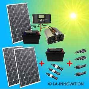 komplett 220v solaranlage akku 200ah 300w solarpanel 1000w camping watt garten ebay. Black Bedroom Furniture Sets. Home Design Ideas