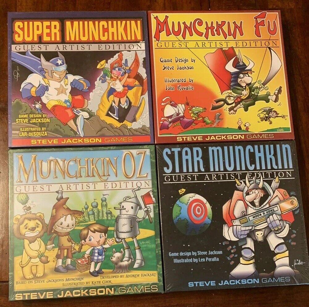 Lot of (4) NEW SEALED Munchkin Board Games - Munchkin Fu, Star, Oz, Super