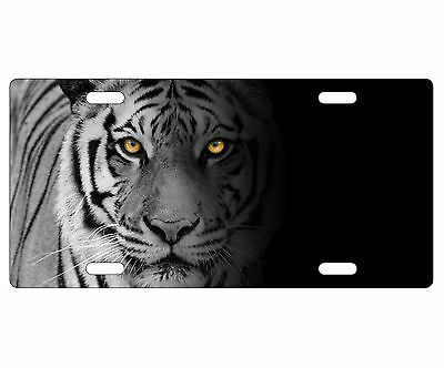 SIBERIAN CAT BLACK ANIMAL Metal License Plate Frame Tag Holder Two Holes