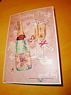 Buon Giorno Del Matrimonio Biglietto D'auguri Bottiglia Di Champagne Design Farfalle Fp-