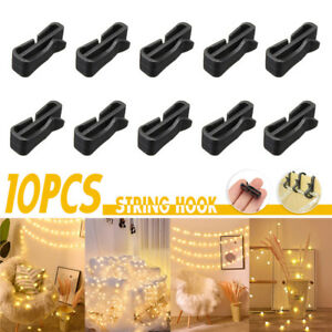 10//50//100pcs Gutter Hooks Clip Outdoor Christmas Xmas Icicle Fairy Light Black