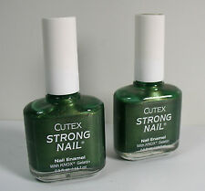 Cutex Strong Nail Leaf Green (80003) Enamel with Knox Gelatin .5 oz Lot of 2