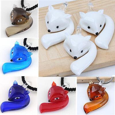 1X Cute Fox Lampwork Glass Murano Cartoon Pendant Bead Animal SP Necklace Charm