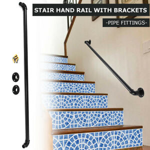 Details About Stair Guard Handrail Banister Brackets Industrial Pipe Wall  Mount Rack Support