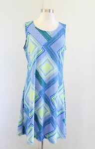 Chico's Easywear Blue Yellow Green Geometric Print Shift Dress Chicos Size 1