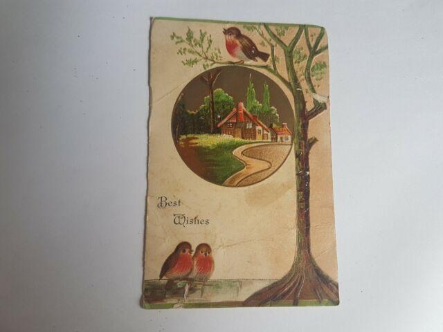 Greeting Postcard Vintage Best Wishes Bird #1