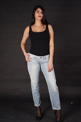Donna Anca Jeans Stretch Pantaloni Taglio diritto Straight Leg Gamba Dritta Nero