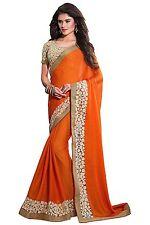 Indian Ethnic Chiffon Orange Embroidered Saree Sari D.No SAR1631
