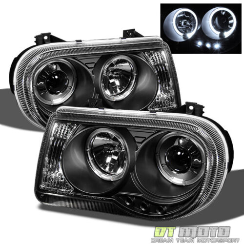 Black 2005-2010 Chrysler 300C LED DRL Halo Projector Headlights 05-10 Left+Right