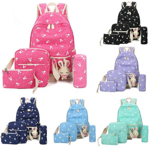 4Pcs//Set Large Rabbit Print  Girls Boys Travel School Bag Backpack Rucksack Bag