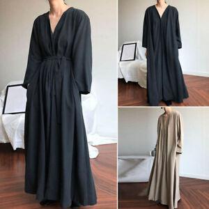Mode-Femme-Robe-Simple-Ceinture-Boutons-Manche-Longue-Col-V-Dresse-Maxi-Plus