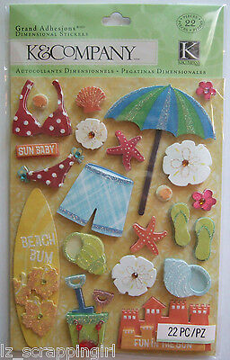 ~CITRONELLA WATER FUN BEACH~ GRAND ADHESIONS Dimensional Stickers K & CO Company
