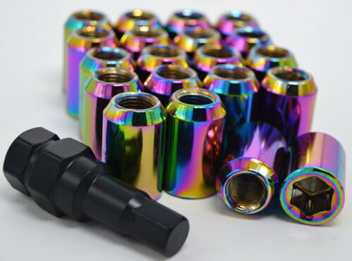 12x1.25 Neo Chrome Extrémité Ouverte Acorn Roue Hex Tuner Lug Nuts Set 20pcs pour NISSAN