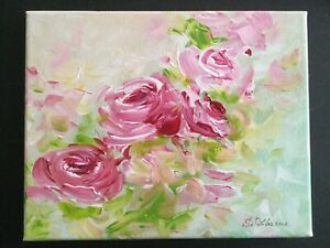 Original-Painting-Textured-Art-Pink-Roses-Bouquet-Acrylic-on-canvas-8-x10-x0-8