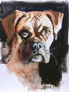 Acuarela * watercolor * Perro Boxer * Pintura original