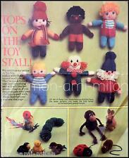 Vintage Knitting Pattern Copy FUN FETE MAKES 6 MINI DOLLS & 9 POMPOM PETS 4 Ply