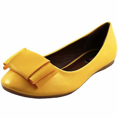 New women's shoes ballet flat ballerina synthetic casual summer bow yellow