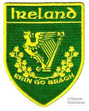 ERIN GO BRAGH embroidered IRELAND IRISH iron-on PATCH COAT OF ARMS EMBLEM HARP
