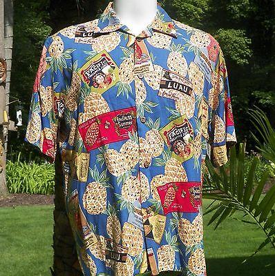 Reyn Spooner Joe Kealuha's Hawaiian Mens Shirt Medium Pineapples Juice Luau