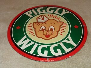 VINTAGE-1948-034-PIGGLY-WIGGLY-GROCERY-STORE-034-11-3-4-034-PORCELAIN-METAL-GAS-OIL-SIGN