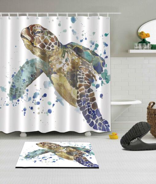 Splashing Watercolor Sea Turtle Shower Curtain Hooks Bath Mat Waterpoof Fabric