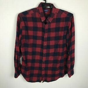 Croft-amp-Barrow-Lumberjack-Plaid-Flannel-Shirt-Mens-Size-L-Long-Sleeve-Red-Blue