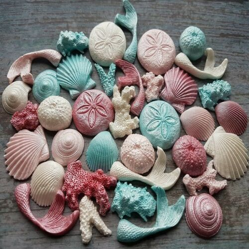 EDIBLE sugar PASTE shells MERMAID tails CORALS cake DECORATIONS toppers