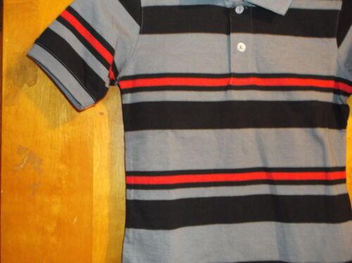 NEW BOY/'S FADED GLORY GREY w// ORANGE /& BLACK STRIPES S//S 2 BUTTON POLO SHIRT