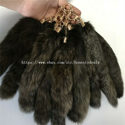 50pcs Real Silver Fox Tail Fur Bag Charm Keychain Cosplay Car Keys Pendant