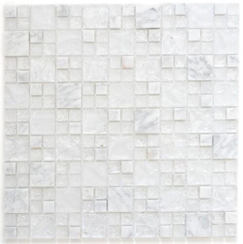 Mosaik Fliese Transluzent weiß Glasmosaik Crystal Stein weiß87-v1411/_f 10 Matten