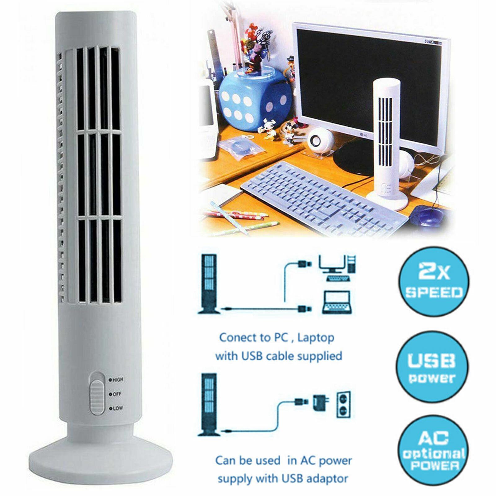 Alician Novelty Portable USB Air Multiplier Desktop Cooling Cool Desk Tower Fan Black 330105mm