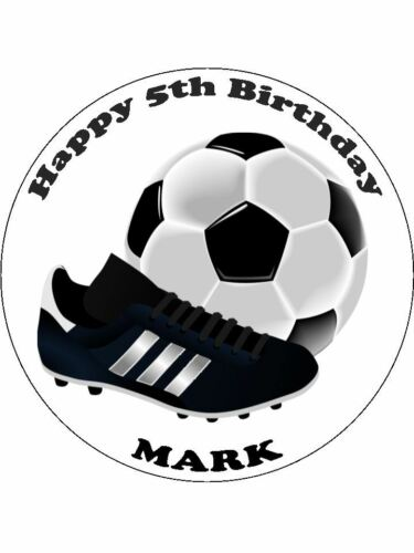 """7.5/"""" Football Personalised Cake Topper Comestible Gaufre photo Tout Nom Message"""