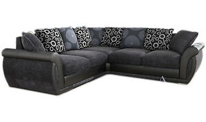 Details about NEW LARGE PIONEER CORNER SOFA GREY BLACK LEATHER & CHARCOAL  CHENILLE FABRIC