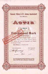 Rommel, Weiss & Cie Köln - Mülheim histor. Aktie 1922 Textil Zelt NRW kein Barov - Deutschland - Vollständige Widerrufsbelehrung Sie haben ein generelles Rückgabe- und Widerrufrecht von einem Monat, gleich aus welchem Grund. - Deutschland