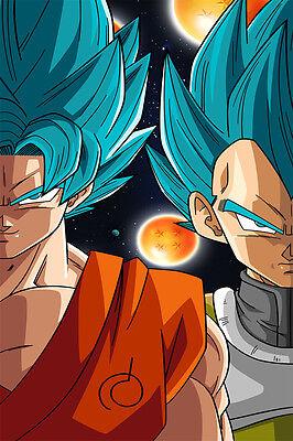 Dragon Ball Super Poster Goku Vegeta God Blue 12inches X