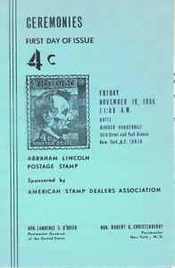 #1282-C2 First Day Ceremony Program 4c Abraham Lincoln Stamp w/FDC